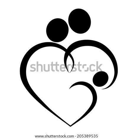 Family love heart icon parents baby stok ll strasyon 205389535 shutterstock - Symbole representant la famille ...
