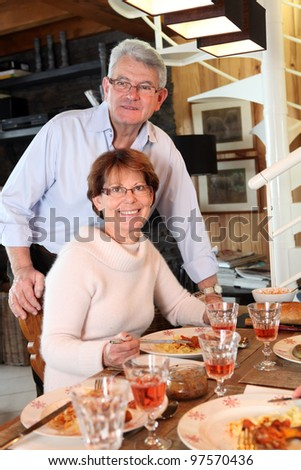 family lunch - stock photo