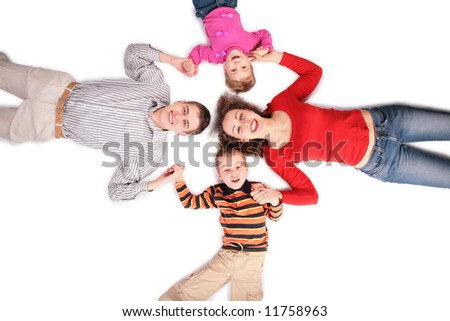 family lying on floor