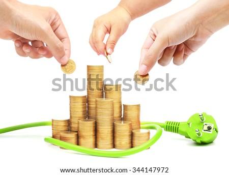 Family members do green energy saving                                 - stock photo
