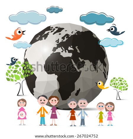 Family Members with Globe - Earth and Trees, Clouds and Birds Illustration - stock photo