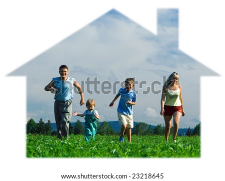 family mother father and two child run in house on field under blue sky