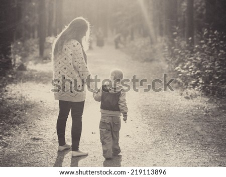 family mother with child son  - stock photo