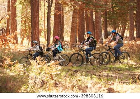 Family mountain biking on forest trail, California - stock photo
