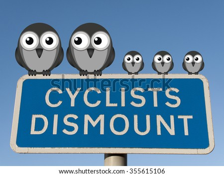 Family of birds perched on a Cyclist Dismount road sign against a clear blue sky