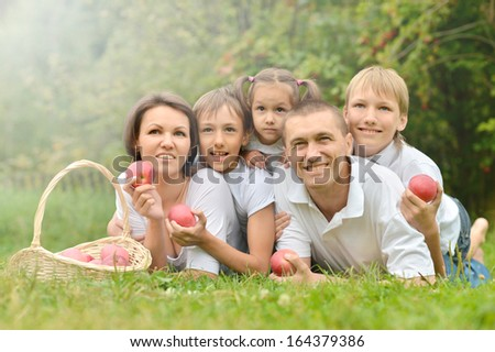 Family of five is having picnic in green summer park