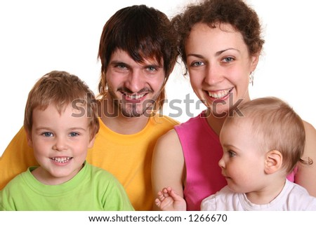family of four in color t-shirts