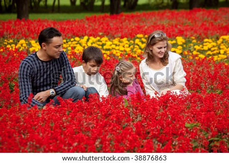 family of four looking at flowers in park - stock photo