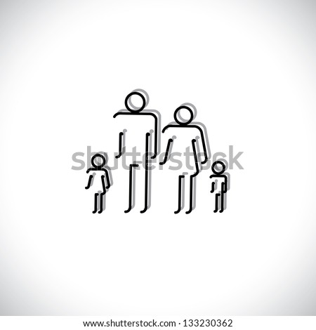 Family of four people abstract icons using line drawing. The symbols are of father, mother, son & daughter in black colored lines with shadow - stock photo