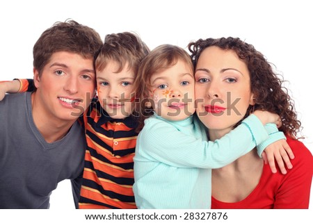 family of four with drawings on children's faces