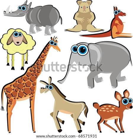 Family of Funny Cartoon Animals which Eat Grass - ( Horse, Deer, Giraffe, Elephant, Kangaroo, Koala, Lamb) - stock photo