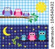 Family of owls in the daytime and nighttime. Raster version - stock vector