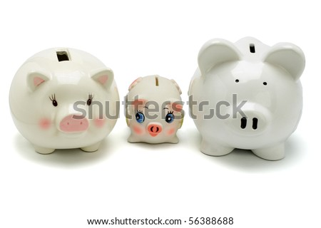 Family of piggy banks on white background - stock photo