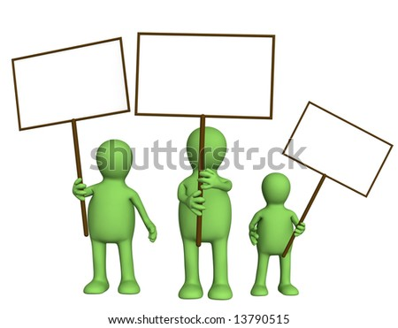Family of puppets with posters in hands - stock photo