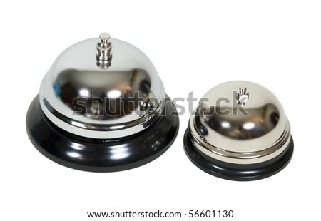 Family of service shown by large and a smaller service bell representing a family - path included - stock photo