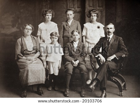 Family of Seven Antique Photograph - stock photo