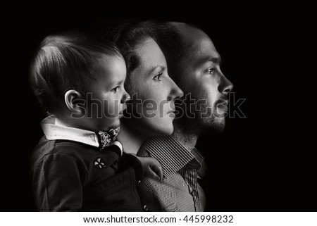 Family of three. family portrait in profile