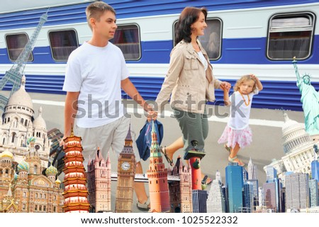 Family of three on platform surrounded by world attractions, collage