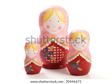 Family of three Russian Dolls grouped