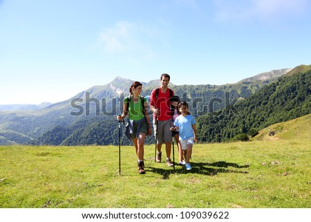 Family on a trekking day in the mountains