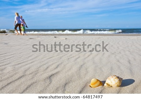 Family on beach with shells - stock photo