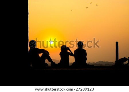 family on the sunset 4 - stock photo