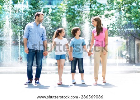 Family outdoors  - stock photo