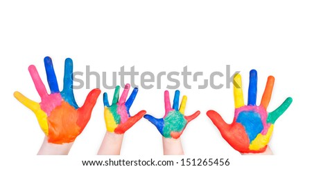 Family painted hand. Isolated on white background