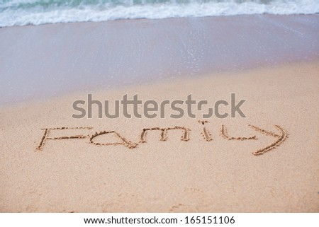Family painted in the sand on a tropical beach - stock photo