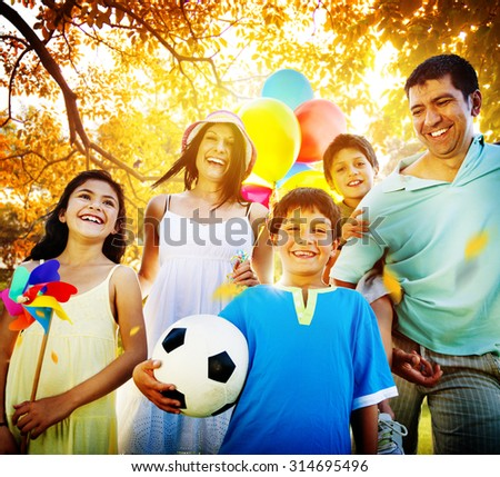 Family Parents Children Togetherness Holiday Concept - stock photo