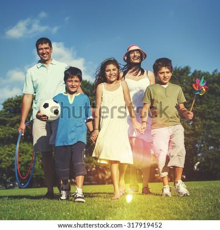 Family Park Enjoyment Picnic Summer Parents Child Concept - stock photo