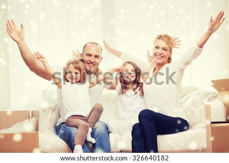 family, people, accommodation, gesture and happiness concept - smiling parents and two little girls moving into new home and waving hands over snowflakes background - stock photo