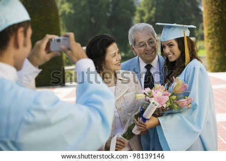 Family Photo at Graduation - stock photo