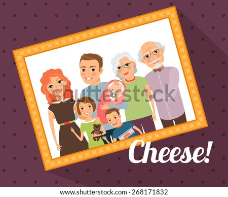 Family photo portrait. Mother father son daughter baby grandmother grandfather - stock photo