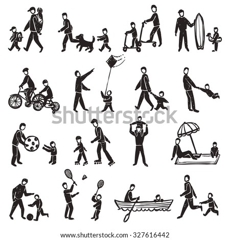 Family physical activity walking rollers badminton and other sport and rest sketch silhouette isolated  illustration