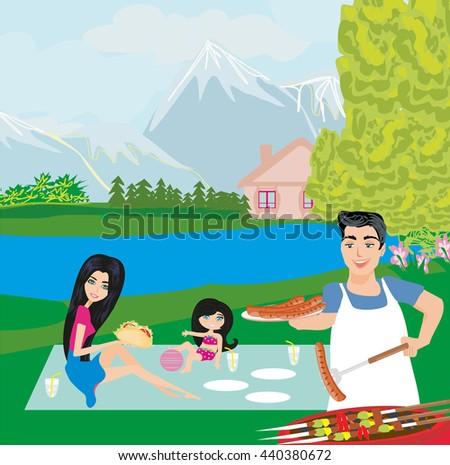 family picnic - stock photo