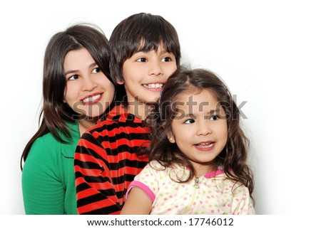 Family pleasures, Mother, the son and  daughter on a light background