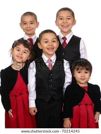 Family portrait, kids together, Hispanic, ages two, three, five, seven, and nine years, isolated on pure white background - stock photo