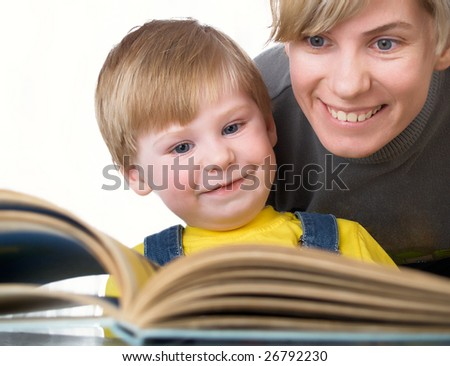 Family portrait mum with son - stock photo