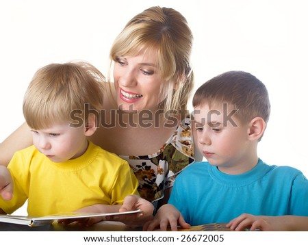 Family portrait mum with two sons - stock photo
