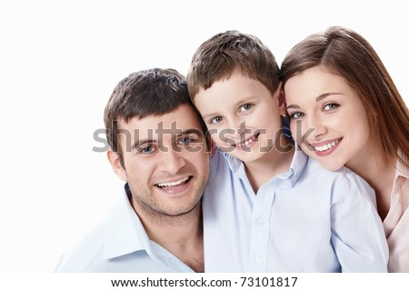 Family portrait on a white background - stock photo