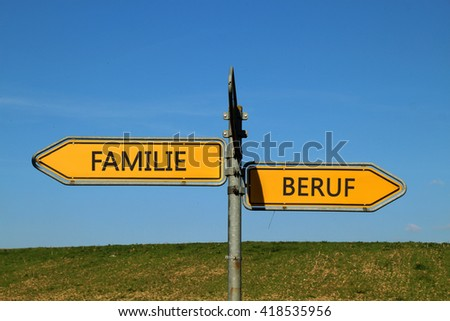 family profession two Way Street Sign on blue sky background - stock photo
