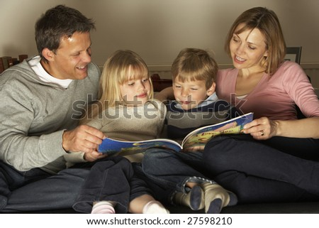 Family Reading Together - stock photo