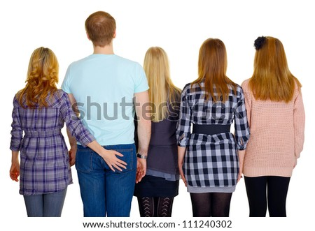 Family - rear view isolated on white background - stock photo