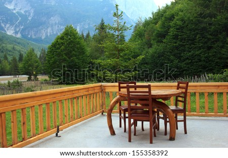 Family restaurant on albanian countryside in mountains - stock photo