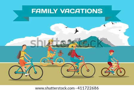 Family ride the bike on the beach. Healthy leisure and freedom riding bike. Man, woman, boy and girl pedaling on summer time. Sea shore in summer time vacation. Flat color illustration - stock photo