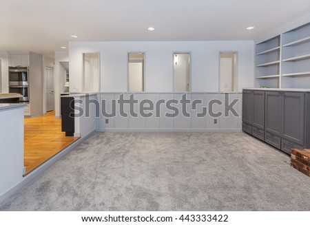 Family room painted, carpeted and cleaned - stock photo