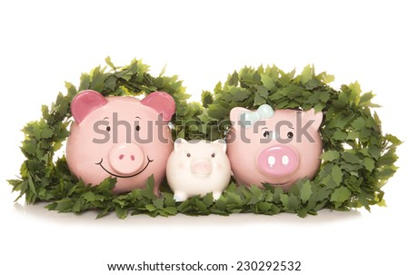 family saving money at christmas cutout - stock photo