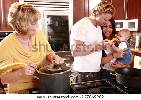 Family shares flavors - stock photo