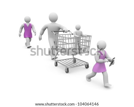 Family shopping. Image contain clipping path - stock photo